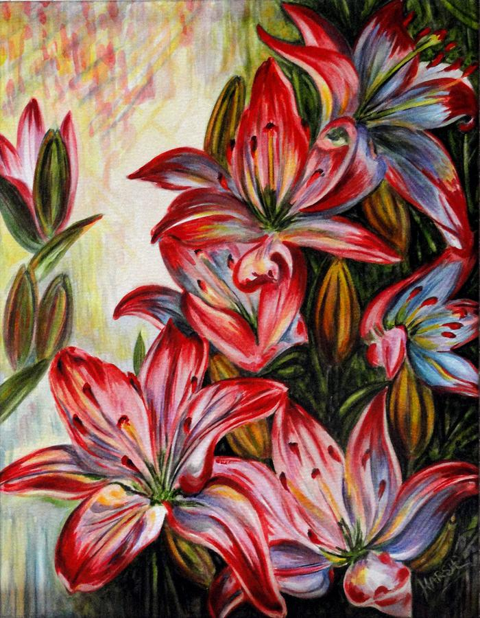Lilies Painting - Lilies by Harsh Malik