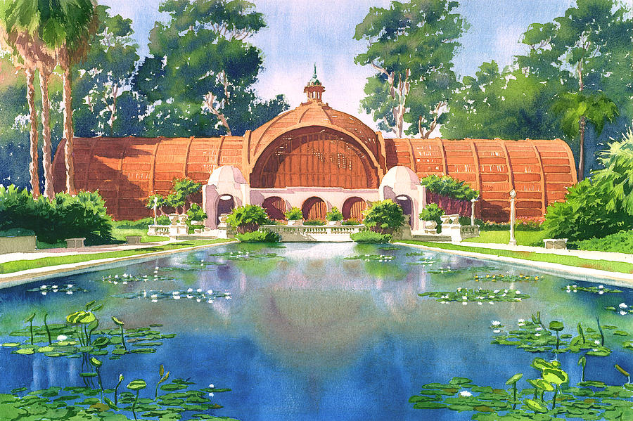 San Diego Painting - Lily Pond And Botanical Garden by Mary Helmreich