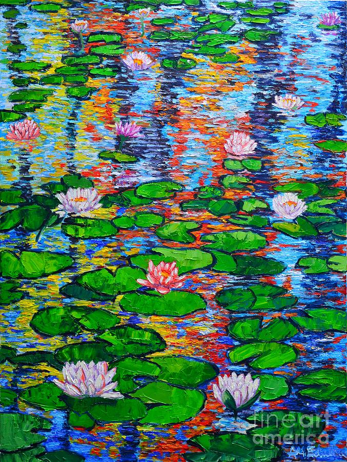 Lily Pond Colorful Reflections Painting