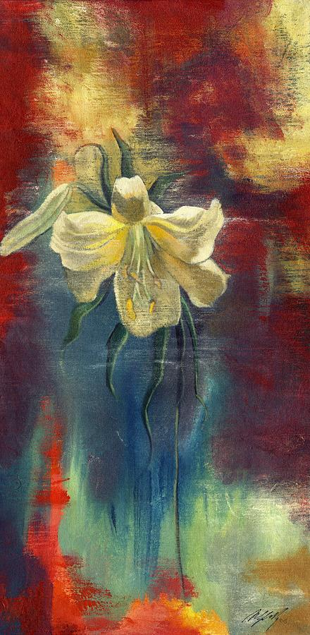 lily with Abstraction Painting  - lily with Abstraction Fine Art Print