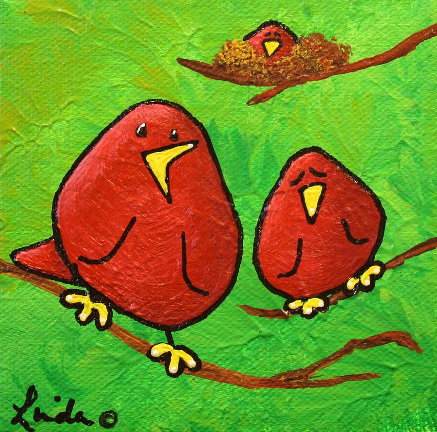 Limb Birds - Red Overhead Painting - Limb Birds - Red Overhead by Linda Eversole