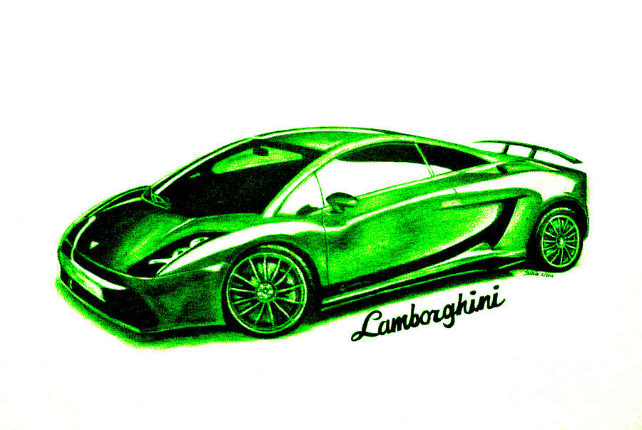 Lime Green Lamborghini Drawing  - Lime Green Lamborghini Fine Art Print