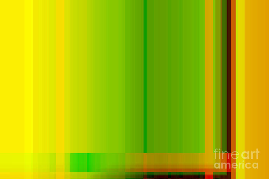 Lime Green Yellow Orange Lines Abstract Digital Art By