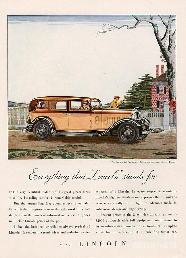Lincoln 1932 1930s Usa Cc Cars Drawing  - Lincoln 1932 1930s Usa Cc Cars Fine Art Print