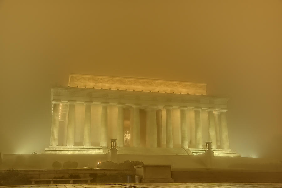 Lincoln Memorial In The Fog Photograph  - Lincoln Memorial In The Fog Fine Art Print