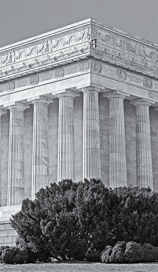 Lincoln Memorial Pillars Bw Photograph