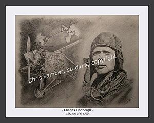 Aviator Drawing - Lindbergh And Spirit Of St Louis by Chris Lambert