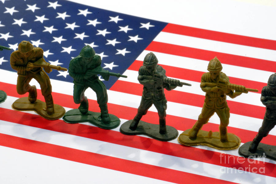 Line Of Toy Soldiers On American Flag Crisp Depth Of Field Photograph