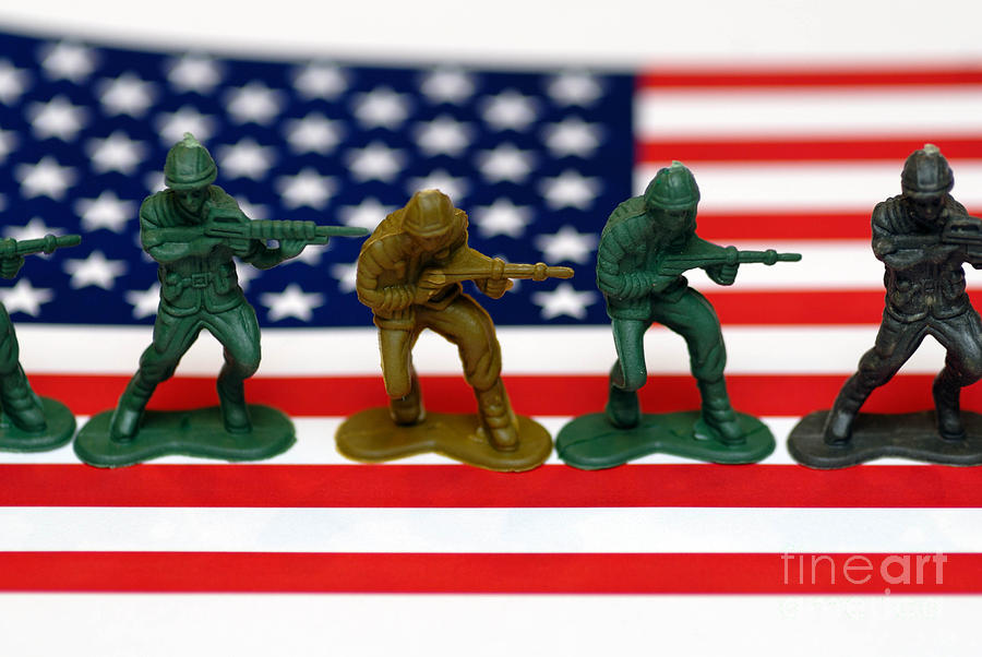 Line Of Toy Soldiers On American Flag Shallow Depth Of Field Photograph