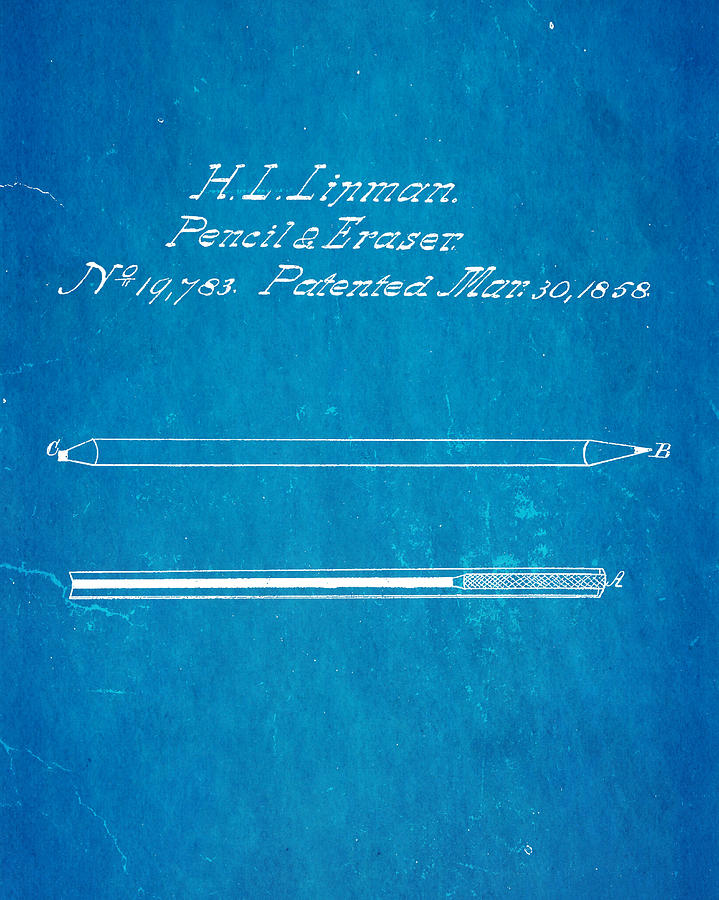 Crafts Photograph - Linman Pencil And Eraser Patent Art 1858 Blueprint by Ian Monk