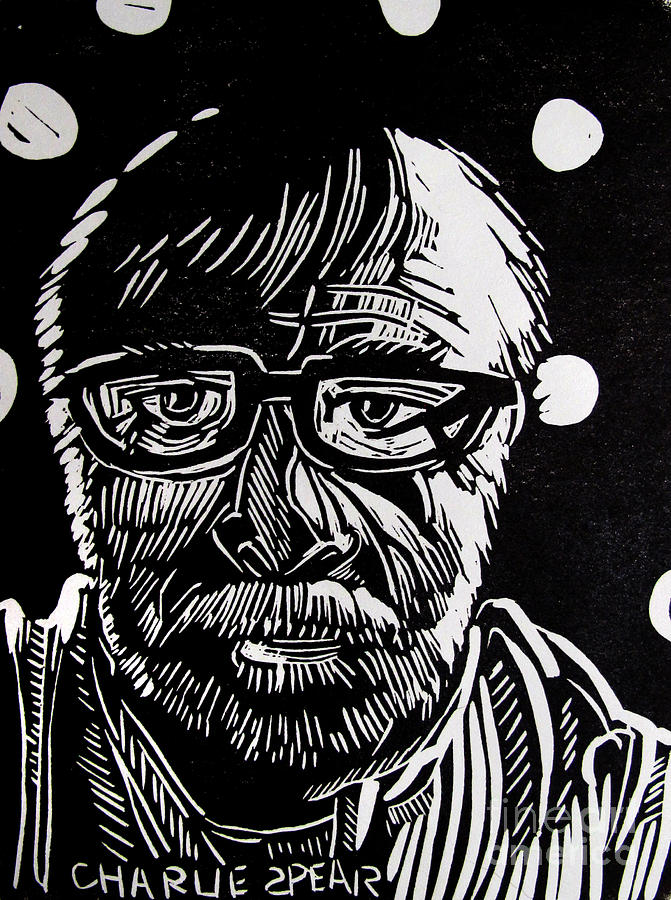 Auto-portrait Relief - Lino Cut Charlie Spear by Charlie Spear