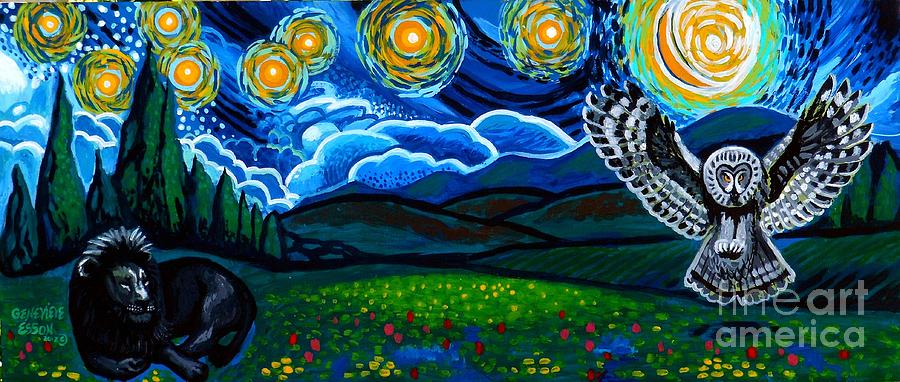 Lion Painting - Lion And Owl On A Starry Night by Genevieve Esson
