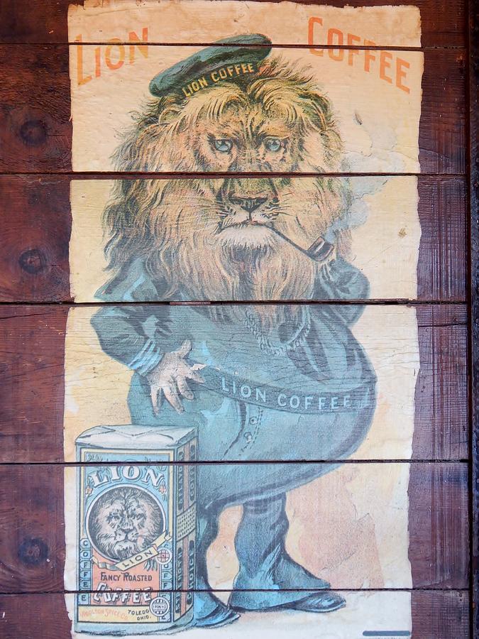 Lion Coffee Decopodge Board Photograph - Lion Coffee by Susan Ince