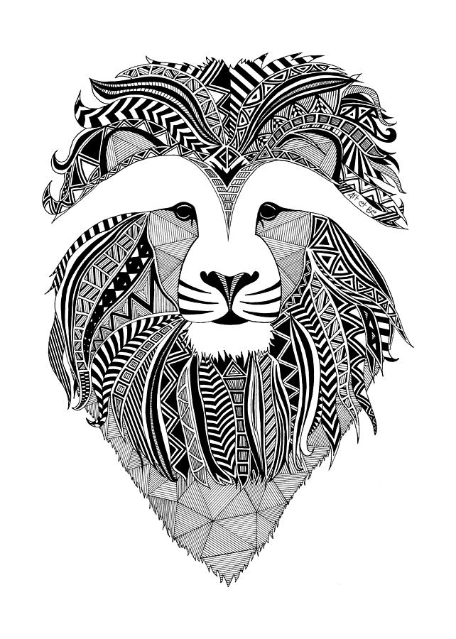 Lion Dark Africa Drawing By Art Et Be