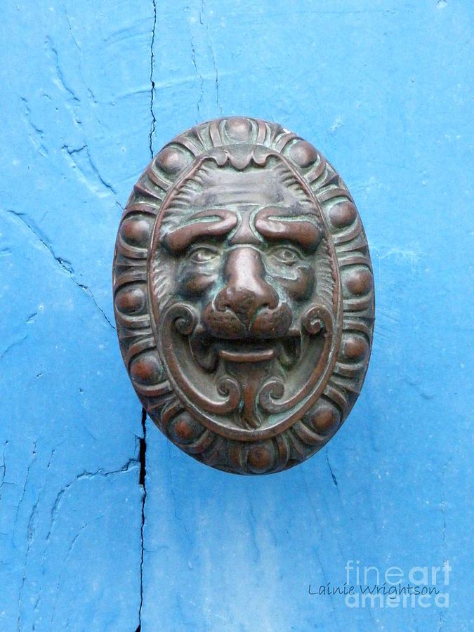 Lion Face Door Knob Photograph  - Lion Face Door Knob Fine Art Print