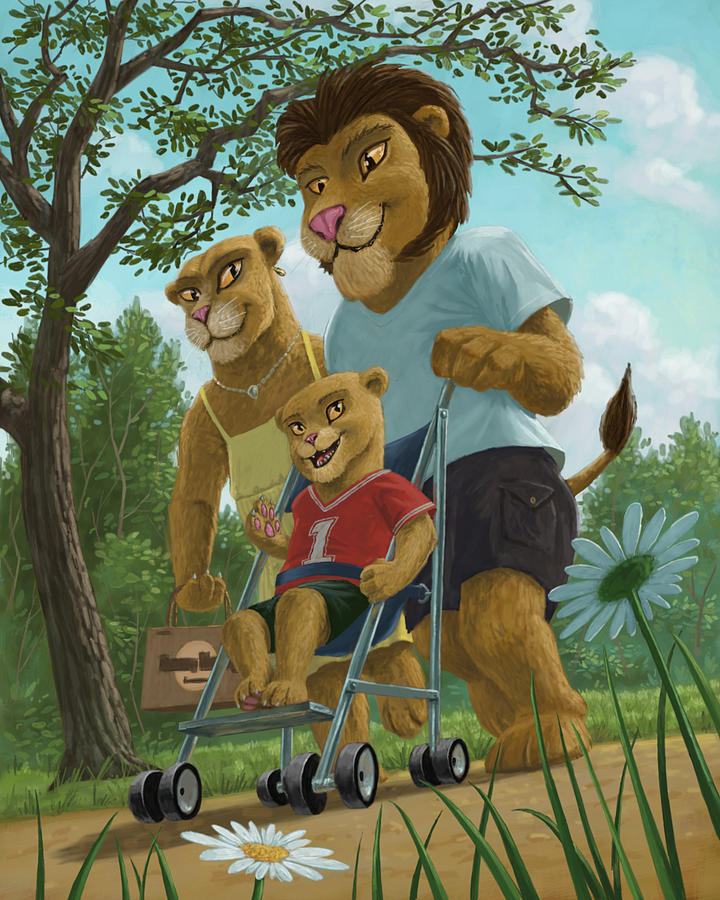 Lion Family In Park Painting  - Lion Family In Park Fine Art Print