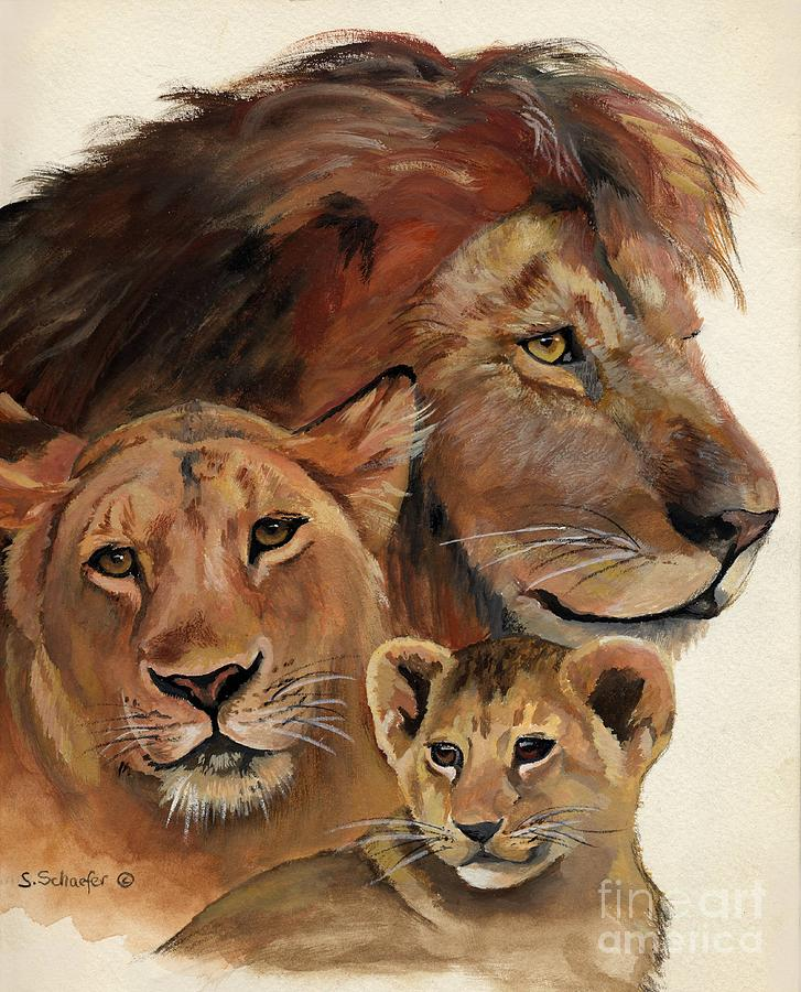 Lion Family Portrait Painting  - Lion Family Portrait Fine Art Print