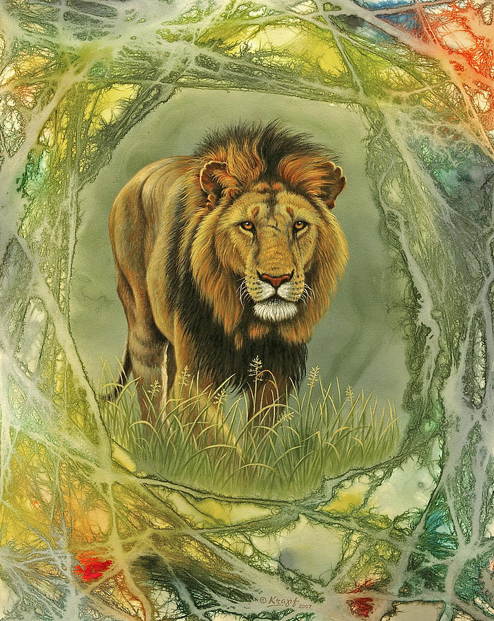 Wildlife Painting - Lion In Abstract by Paul Krapf