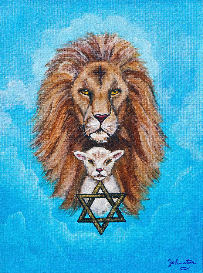 Lion Lies Down With A Lamb Painting  - Lion Lies Down With A Lamb Fine Art Print