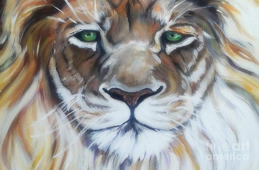 Lion Of Judah Close Up Painting
