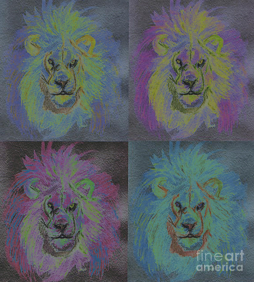 Lion X 4 Color  By Jrr Painting  - Lion X 4 Color  By Jrr Fine Art Print