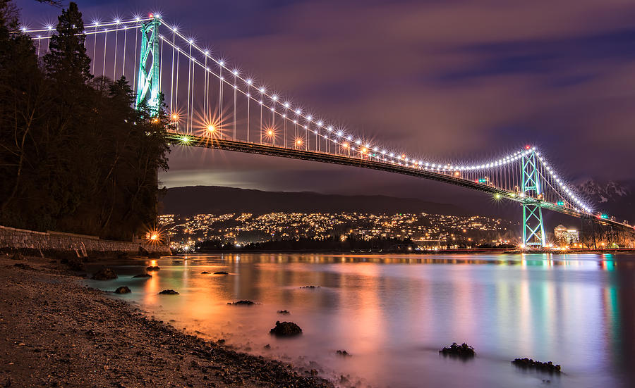 Lions Gate Bridge At Night Photograph