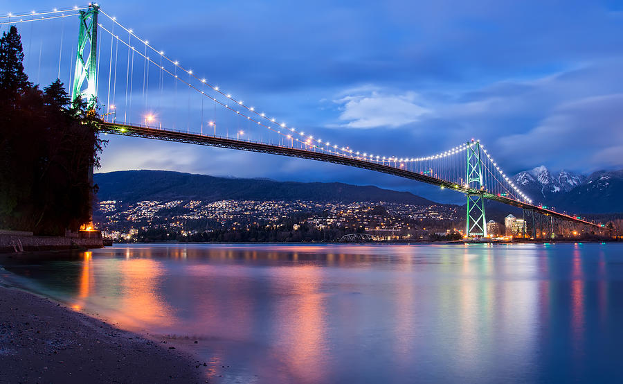 Lions Gate Bridge Just After Sunset Photograph