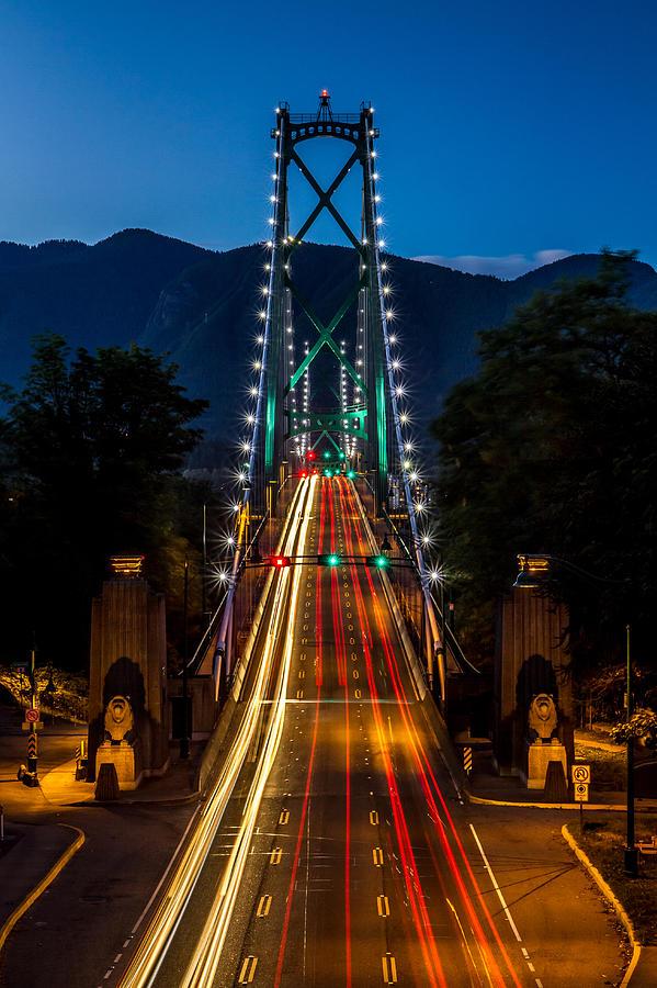 Lion's Gate Bridge Photograph - Lions Gate Bridge Vancouver B.c Canada by Pierre Leclerc Photography