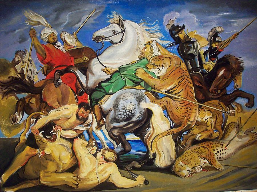 Lions Tigers And Leopard Hunt Homage To Rubens Painting By
