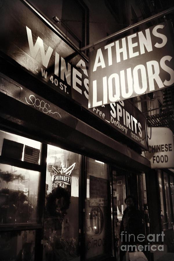 New York Photograph - Liquor Shop - New York At Night by Miriam Danar