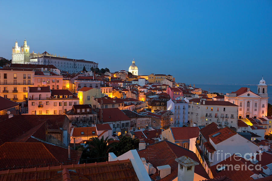 Lisbon City Lights Panoramic Alfama View Photograph