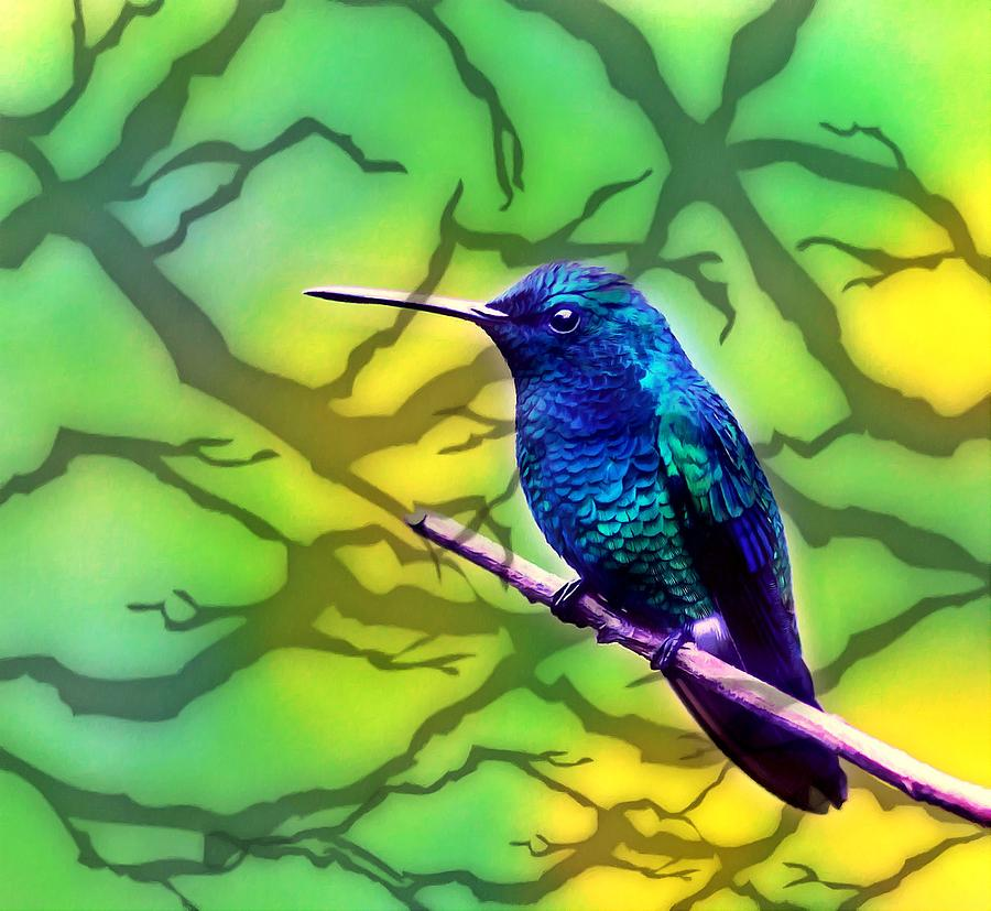 Little Bird On Branch Painting