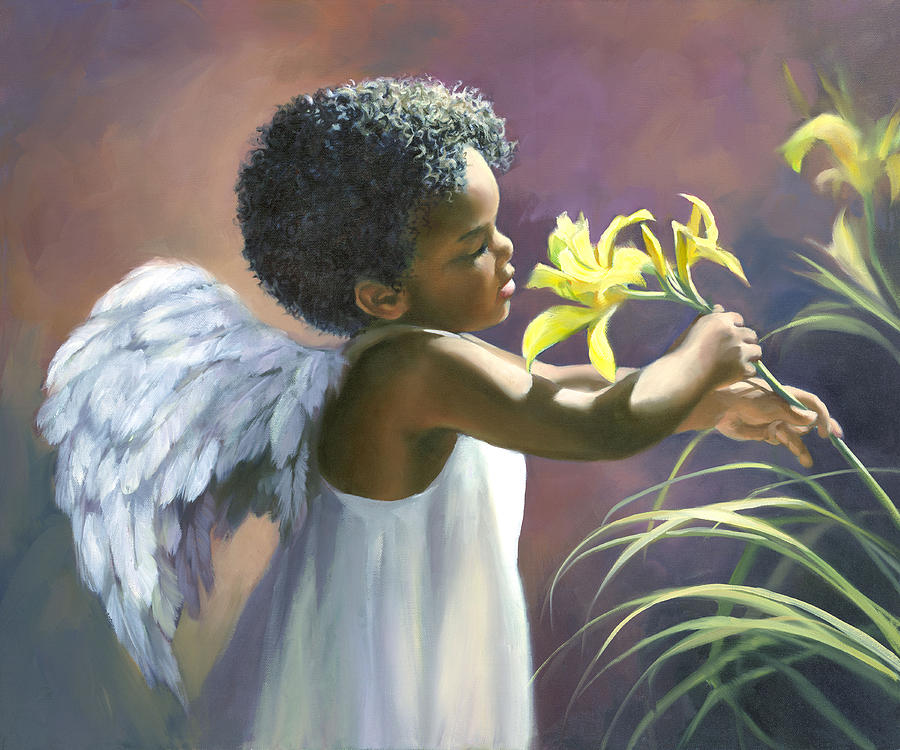 Little Black Angel Painting by Laurie Hein