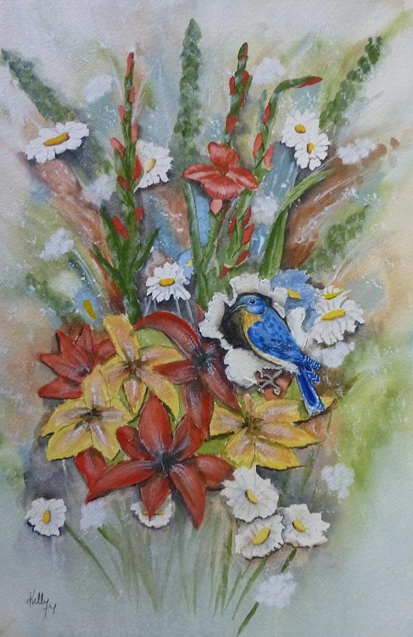 Little Blue Bird Eats The Painting Painting