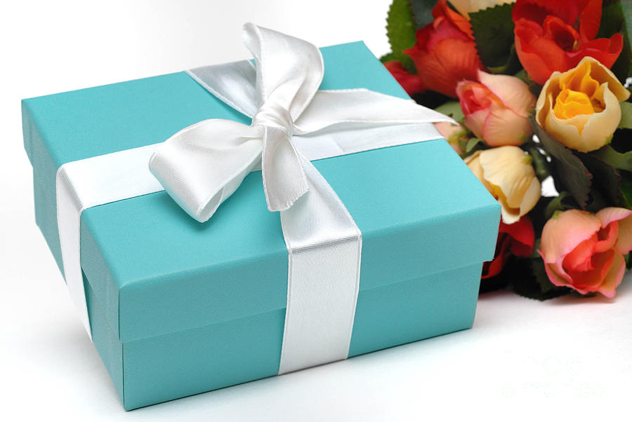 Little Blue Gift Box And Flowers Photograph