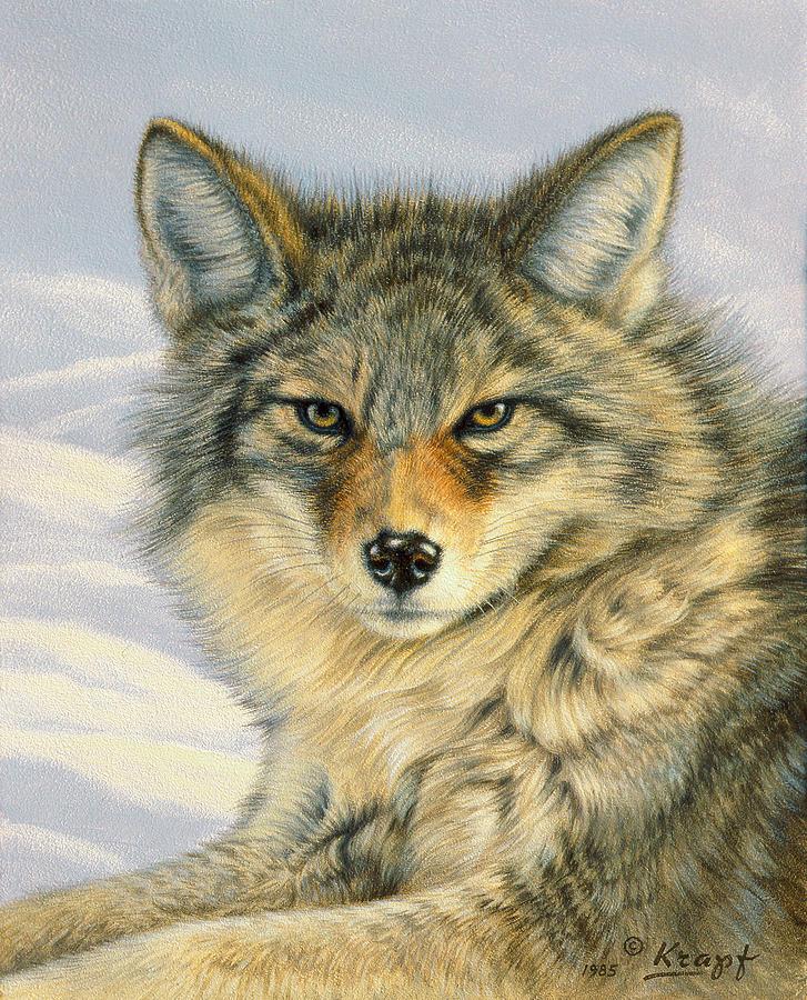 Wildlife Painting - Little Coyote by Paul Krapf