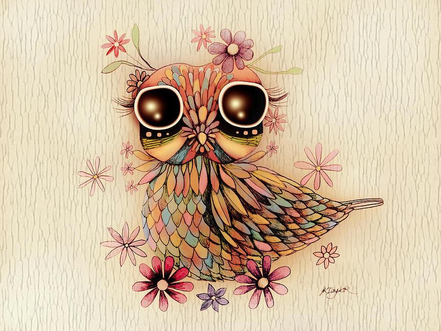 Little Flower Owl Painting
