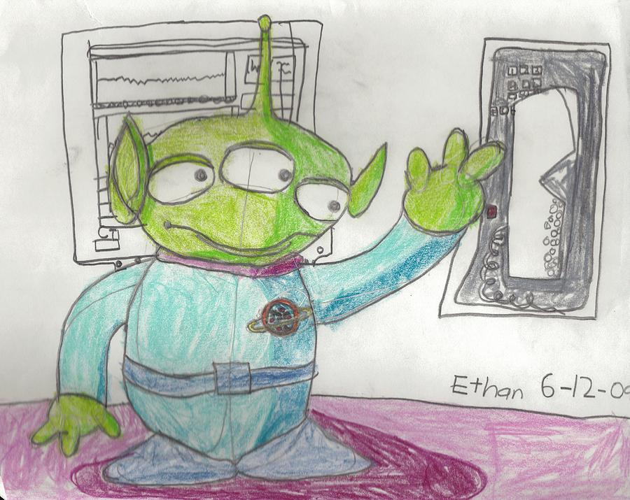 Little Green Man From Toy Story Drawing - Little Green Man From Toy Story by Fred Hanna