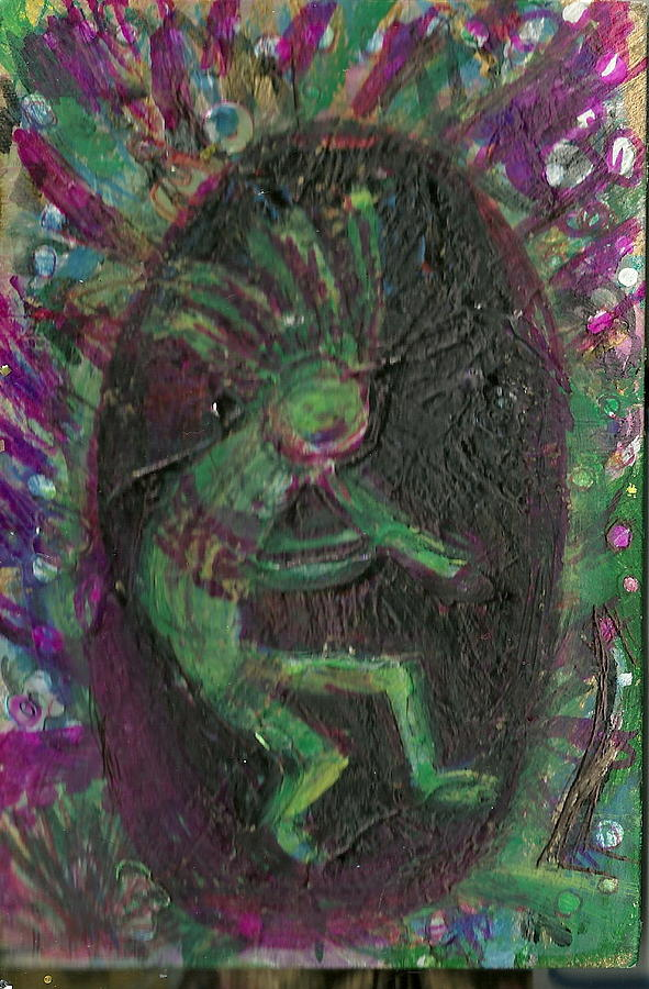 Little Kokopelli Green Painting  - Little Kokopelli Green Fine Art Print