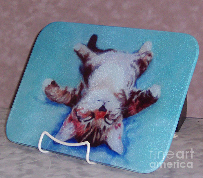 Cutting Boards Painting - Little Napper Cutting And Serving Board by Pat Saunders-White