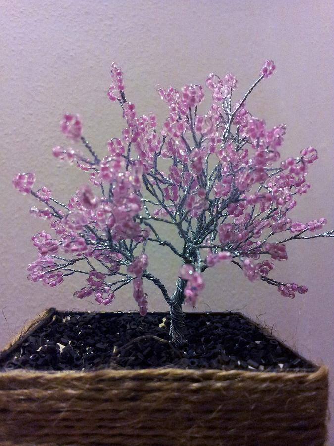 Miniature Wire Tree Sculpture - Little Pink Tree  by J-Star Wind
