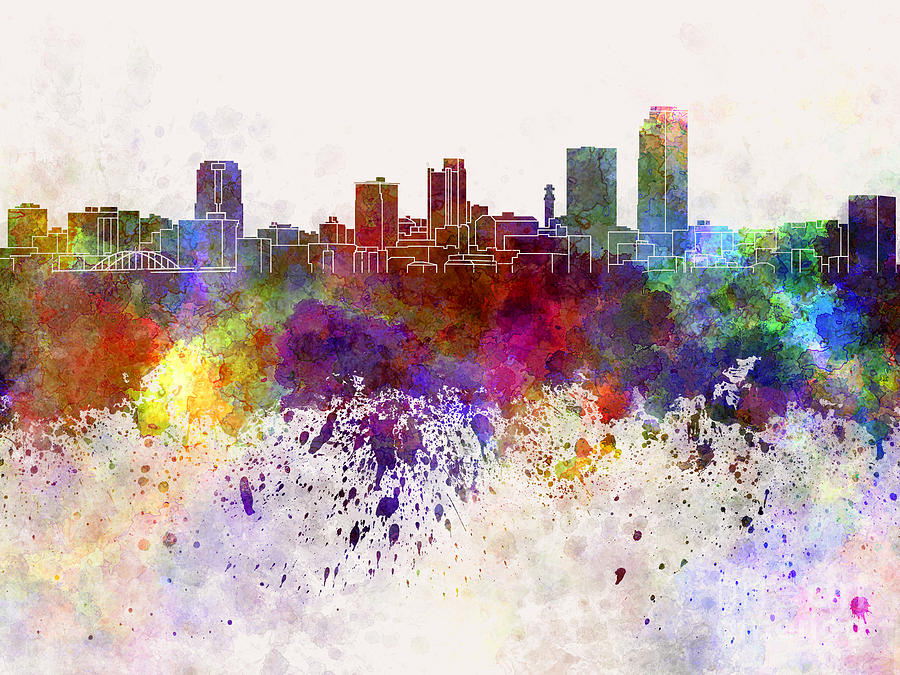 Little Rock Skyline In Watercolor Background Painting