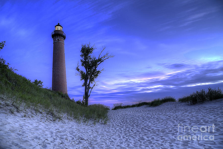 Little Sable Lighthouse In Evening Photograph  - Little Sable Lighthouse In Evening Fine Art Print