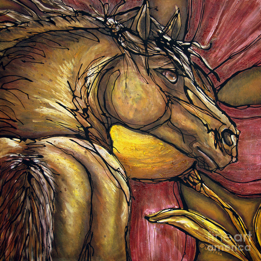 Horse Painting - Live Again by Jonelle T McCoy