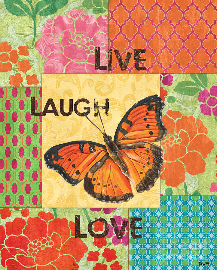 Butterfly Painting - Live Laugh Love Patch by Debbie DeWitt