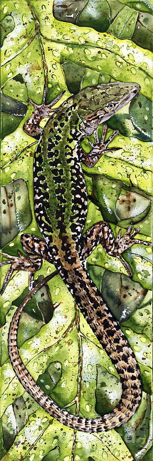 Lizard In Green Nature - Elena Yakubovich Painting
