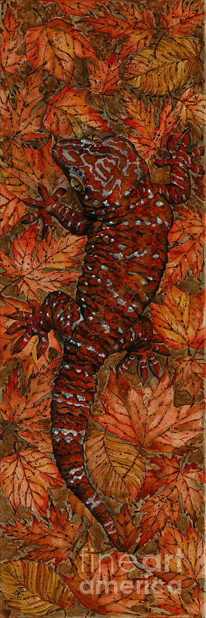 Lizard In Red Nature - Elena Yakubovich Painting
