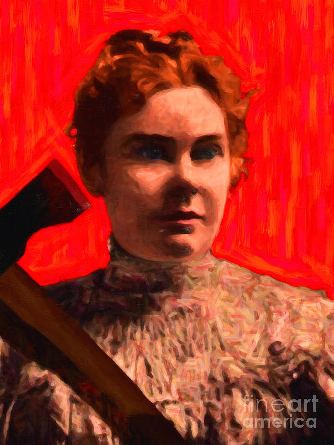 Lizzie Bordon Photograph - Lizzie Bordon Took An Ax - Painterly - Red by Wingsdomain Art and Photography