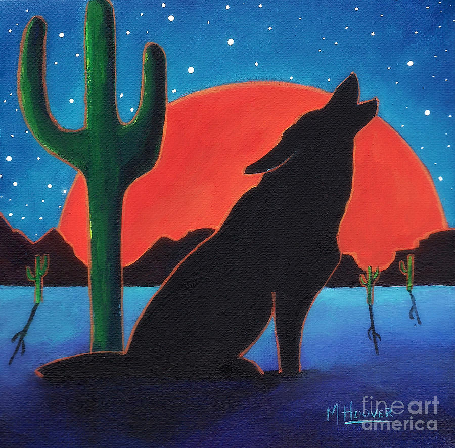 Lonely Night Wolf Painting