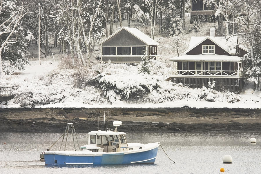 Lobster Boat After Snowstorm In Tenants Harbor Maine Photograph